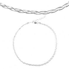 d4ebcd1a9 Šperky eshop - Náhrdelník zo striebra 925, pletený z troch retiazok s hadím  vzorom SP13.20