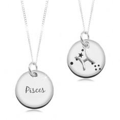 Šperky eshop - Strieborný náhrdelník 925, retiazka a okrúhly prívesok - znamenie RYBY SP14.26
