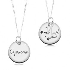 Šperky eshop - Strieborný 925 náhrdelník, retiazka a okrúhly prívesok - KOZOROŽEC SP14.30