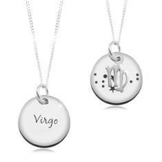 Šperky eshop - Strieborný 925 náhrdelník, retiazka a okrúhly prívesok - PANNA SP18.11