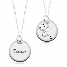 Šperky eshop - Strieborný 925 náhrdelník, retiazka a okrúhly prívesok - BÝK SP17.09