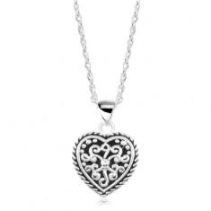 Šperky eshop - Strieborný náhrdelník 925, srdce s patinou a ornamentmi SP19.23