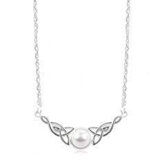 Strieborný náhrdelník 925, biela polgulička, keltské uzly po stranách