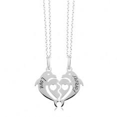 Šperky eshop - Náhrdelníky zo striebra 925 - rozpolené srdce z dvoch  delfínov 5b470207cb4