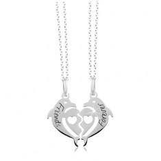 Náhrdelníky zo striebra 925 - rozpolené srdce z dvoch delfínov 7981f208556