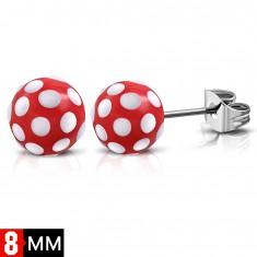 Šperky eshop - Náušnice z chirurgickej ocele, červené guličky s bielymi bodkami SP30.26
