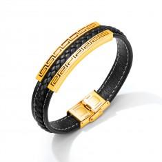 Čierny koženkový náramok, oceľová známka zlatej farby - grécky kľúč