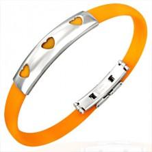 Gumový náramok 3 srdiečka - oranžový