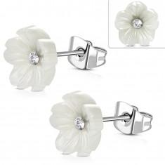 Puzetové oceľové náušnice - perleťovo biely kvietok s čírym zirkónom