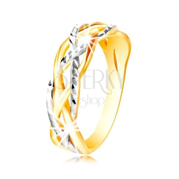 Prsteň zo 14K zlata - dvojfarebné, zvlnené a prepletené línie, zárezy