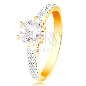 Prsteň v 14K zlate - trblietavý číry zirkón v ozdobnom kotlíku, zirkónové ramená