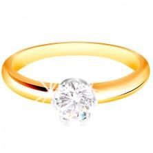 Zlatý 14K dvojfarebný prsteň - číry zirkón v šesťcípom kotlíku, vypuklé ramená