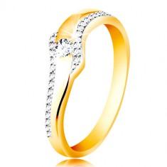 278ed30d1 Šperky eshop - Prsteň zo 14K zlata - vlnka s čírym zirkónom a trblietavými  líniami po stranách GG213.32 40 - Veľkosť: 49 mm
