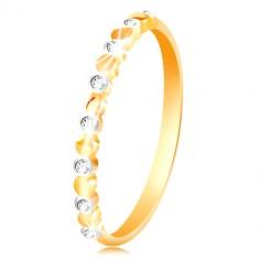 Šperky eshop - Prsteň v žltom a bielom zlate 585 - dvojfarebné kolieska a číre zirkóny GG214.24/30 - Veľkosť: 49 mm