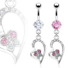 Luxusný piercing do pupku srdiečko, motýlik, zirkón