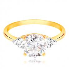 Prsteň zo 14K zlata - veľký číry zirkón v strede, trojice zirkónikov po stranách