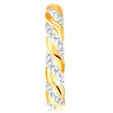 Prsteň v kombinovanom zlate 585 - zirkónové a hladké vlnky