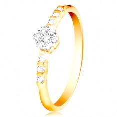 1e6a0a398 Šperky eshop - Prsteň zo 14K zlata - číry ligotavý kvietok, drobné zirkóny  na ramenách GG213.88 94 - Veľkosť: 49 mm