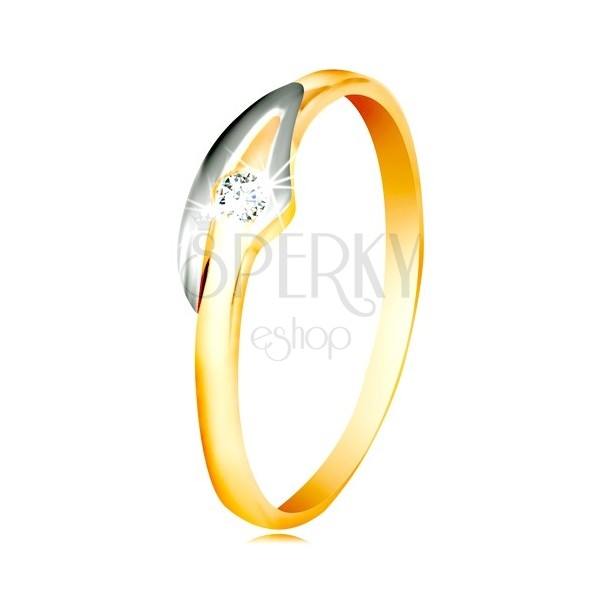 f77e2924f Prsteň v 14K zlate so zirkónom čírej farby, dvojfarebné ramená ...