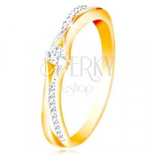 Zlatý 14K prsteň, rozdelené ramená zo žltého a bieleho zlata, číre zirkóny
