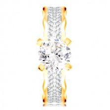 Prsteň v 14K zlate - veľký číry zirkón v kotlíku, zirkónové línie, zvlnené okraje