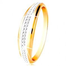 Zlatý 14K prsteň - vypuklý pás s líniou bieleho zlata a čírych zirkónov 97048ef2517