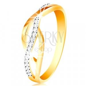 Prsteň v kombinovanom 14K zlate - prepletené hladké a zirkónové línie