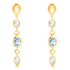 Šperky eshop - Náušnice zo žltého 14K zlata - visiace ovály 74e17793963