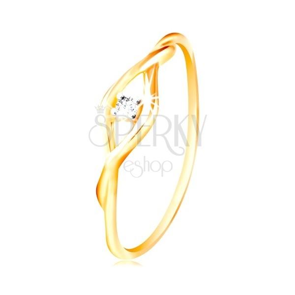 Zlatý prsteň 585 - číry okrúhly zirkón medzi dvomi tenkými vlnkami