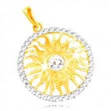 Prívesok zo zlata 585 - ligotavé slnko v obruči z čírych zirkónov