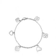 Šperky eshop - Náramok na ruku z chirurgickej ocele, srdiečka a štvorlístky, strieborná farba SP81.17