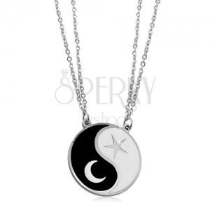 Oceľový náhrdelník, dve retiazky, čierno-biely symbol Jin a Jang, mesiac a hviezda