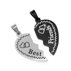 Oceľové prívesky Best Friends - rozlomené srdce so srdiečkami d5762068e21