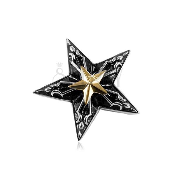 Oceľový prívesok, veľká čierna hviezda s malou hviezdou zlatej farby v strede
