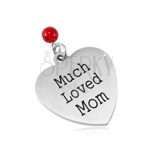Prívesok z chirurgickej ocele, matné srdce s nápisom a červenou guličkou