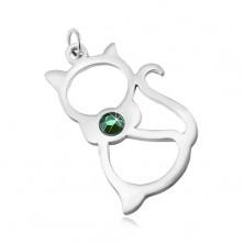 Prívesok z chirurgickej ocele v striebornom odtieni, obrys mačky, zelený zirkón