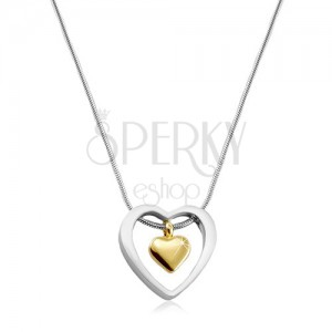 Náhrdelník z chirurgickej ocele, srdiečko zlatej farby v obryse srdca