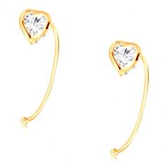 69b18853a Šperky eshop - Zlaté náušnice 585 - číre zirkónové srdiečko uchytené na  tenkom oblúku GG209.