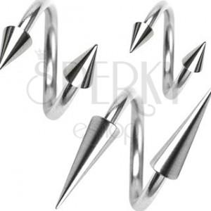 Piercing z chirurgickej ocele, špirálka s hrotom