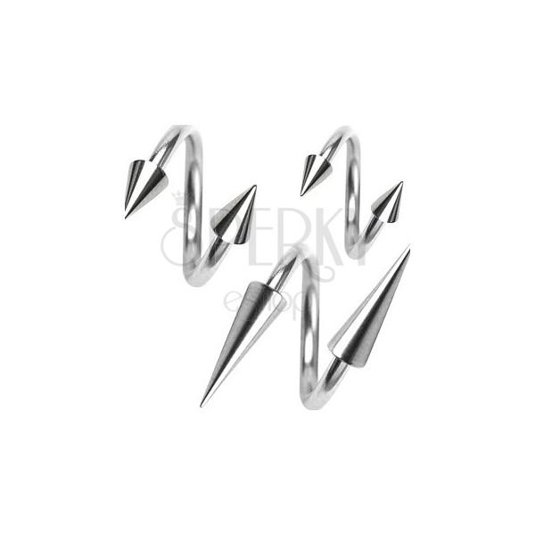 Piercing z chirurgickej ocele, špirálka s hrotom, 1,6 mm