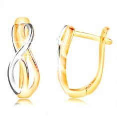 Šperky eshop - Zlaté náušnice 585 - tenké prepletené vlnky zo žltého a bieleho zlata GG210.24