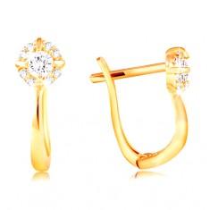 Šperky eshop - Náušnice zo žltého zlata 585 - trblietavý zirkónový kvet čírej farby GG210.42
