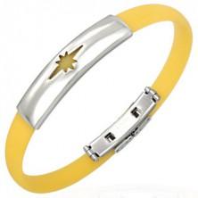 Gumený náramok, motív hviezdy - žltý