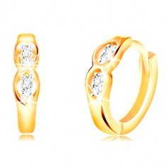 Šperky eshop - Kĺbové náušnice zo 14K zlata - dva oválne výrezy s čírymi  zirkónmi GG210.35 3c7eab14890