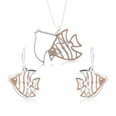 Šperky eshop - Strieborný set 925, vyrezávané ryby striebornej a medenej farby SP85.03
