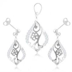 bd1159686 Šperky eshop - Sada zo striebra 925, náušnice a prívesok - kvet v obryse  kvapky, číre zirkóny SP85.04