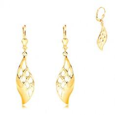 Šperky eshop - Náušnice zo žltého 14K zlata - veľký lesklý list zdobený mriežkou GG211.04
