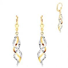 Šperky eshop - Zlaté 14K náušnice - prepletené vlnky zo žltého a bieleho zlata GG211.22