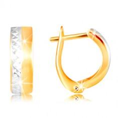 Šperky eshop - Náušnice zo 14K zlata - hladký matný pás žltej farby, brúsená línia z bieleho zlata GG217.12