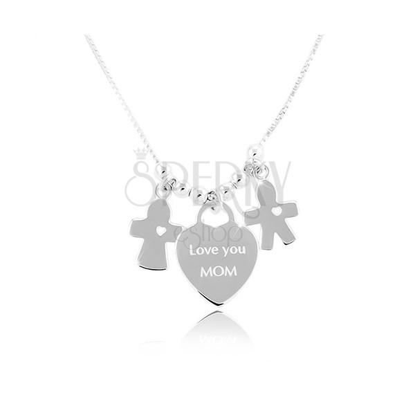 c87c87e6a Strieborný náhrdelník 925, srdce s nápisom Love you MOM, chlapček a  dievčatko ...